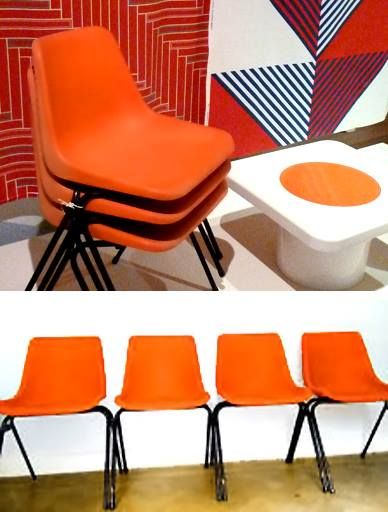 Set of 4 Polypropylene Stacking Chairs made by Hille, Designed by Robin Day. The polyside plastic tub shell was the first Polypropylene plastic seat on the market and is responsible for all the variations that followed.