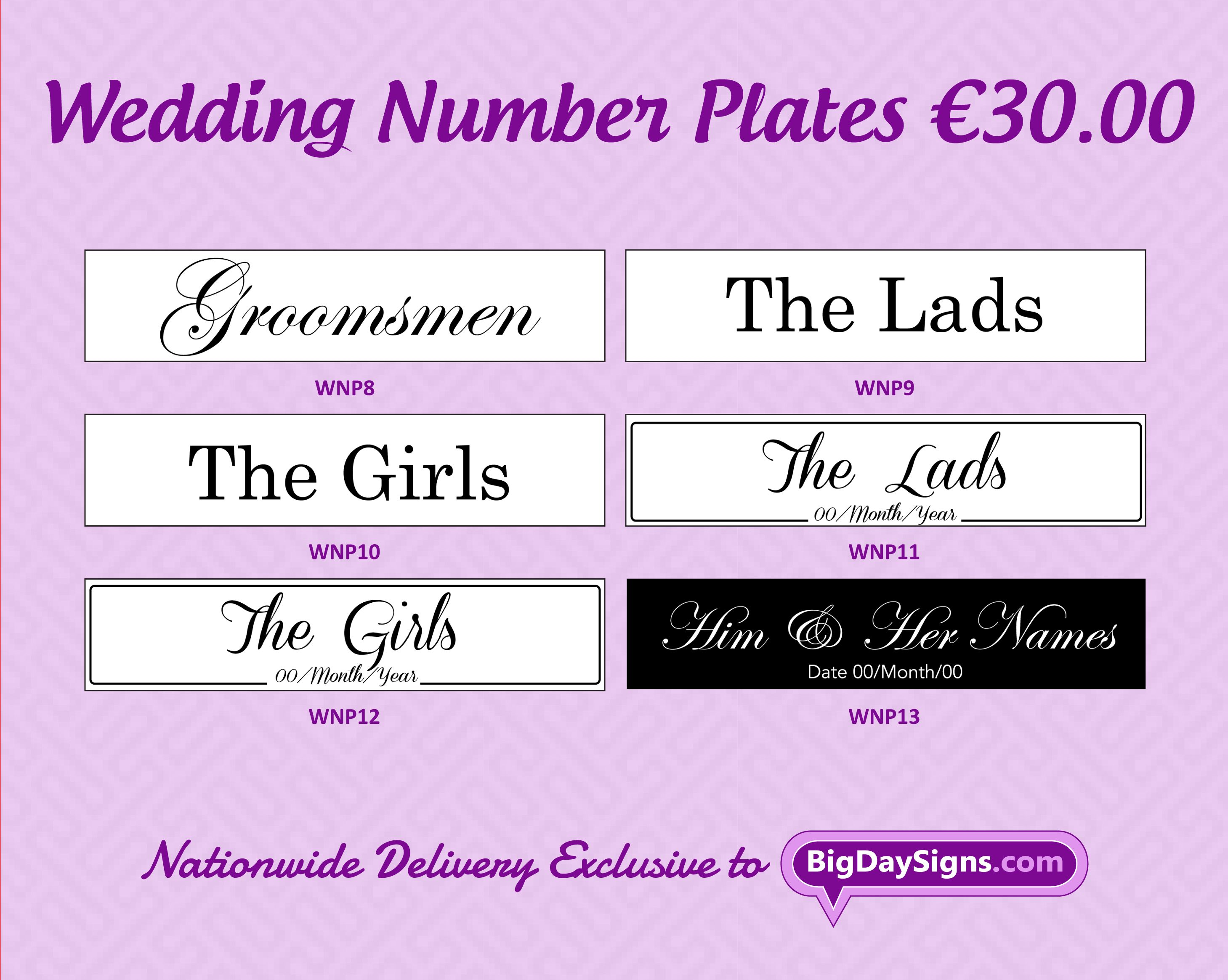 Wedding Number Plates 20.5  X 4.4  (Set of 2 plates) - u20ac30.00 Water proof rigid acrylic plastic backed with a vinyl the same as standard car plates.  sc 1 st  Pinterest & Wedding Number Plates 20.5