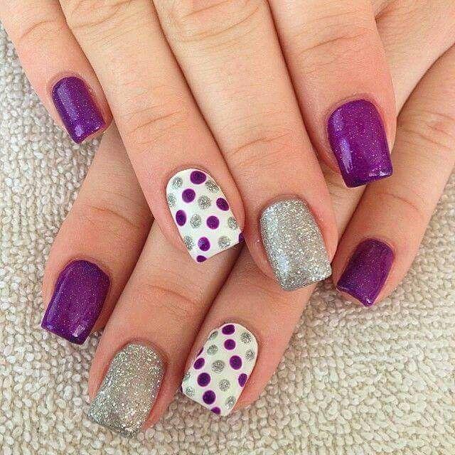 Morado Con Gris Uas Pinterest Nail Wedding Purple Nail Art