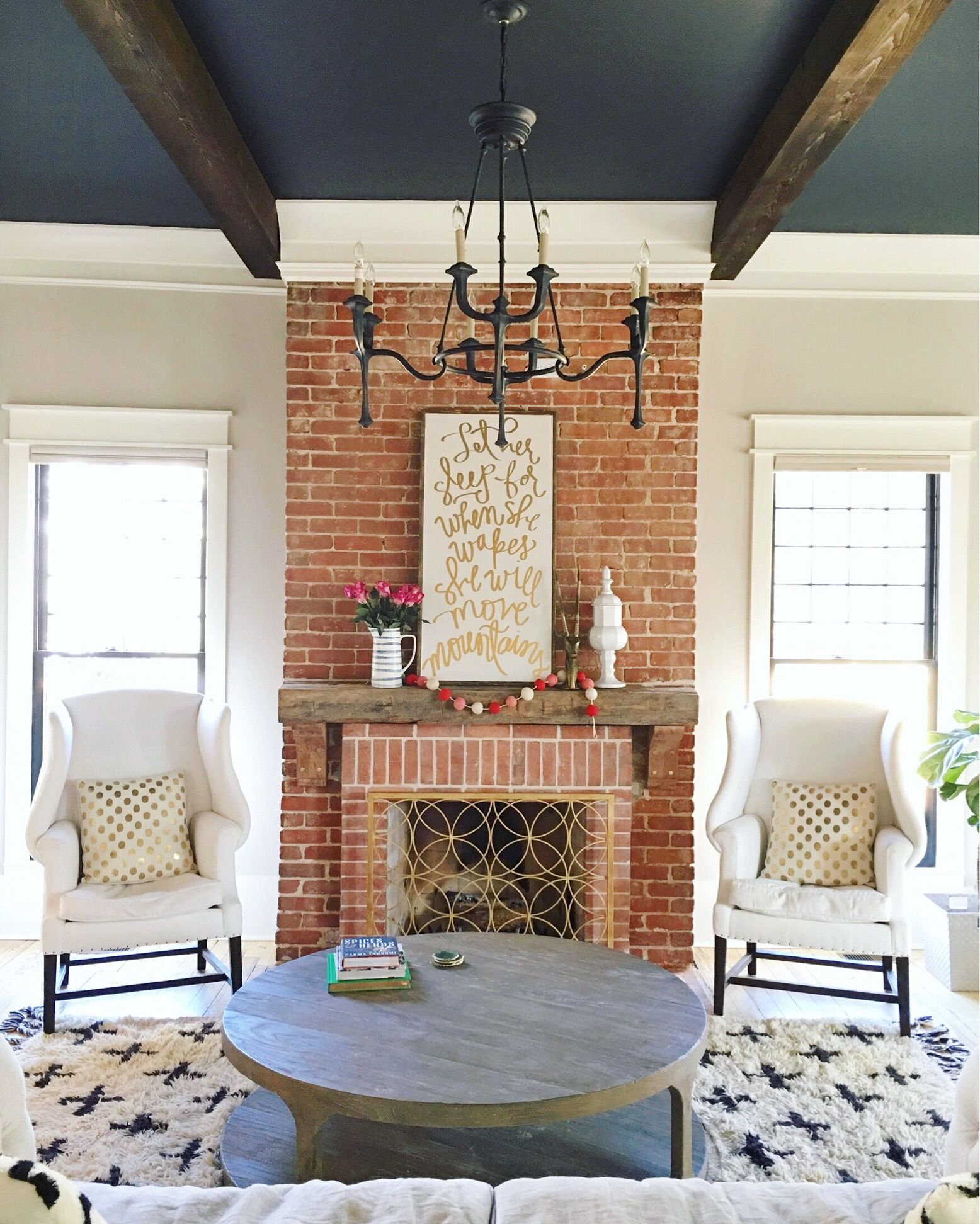 Like The Brick Beams Dark Floors Decor Chandelier Is: Our New Mantle & Living Room Tour