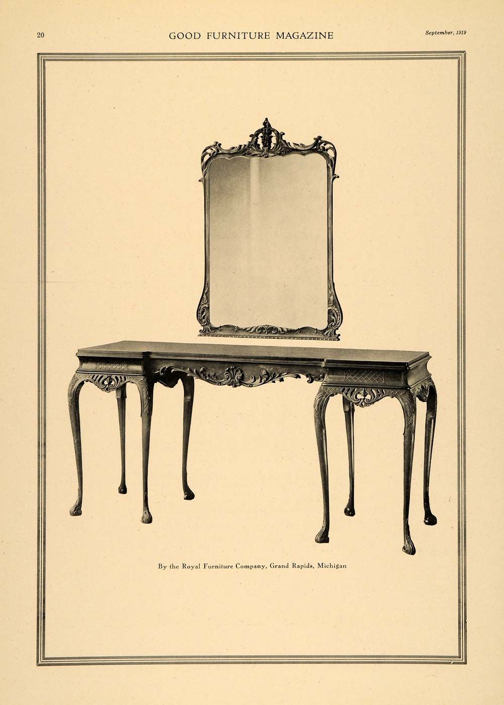 1919 Ad   Royal Furniture Dressing Table U0026 Mirror   Grand Rapids Mich.