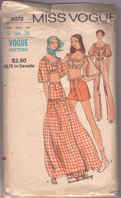 Vogue 8072 Vintage 70\'s Sewing Pattern KILLER Miss Vogue Bohemian ...