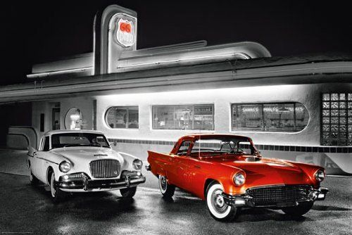 Route Diner Photo Classic Cars Vintage Art Rare Poster