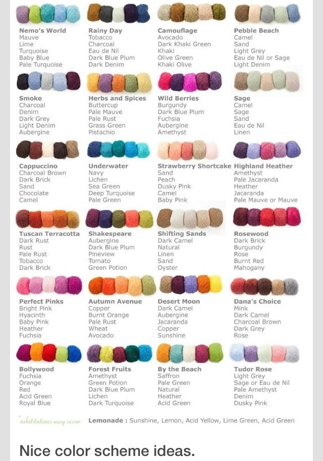What Colors Look Good Together Color Scheme Idea Chart Yarn Color Combinations Yarn Colors Yarn