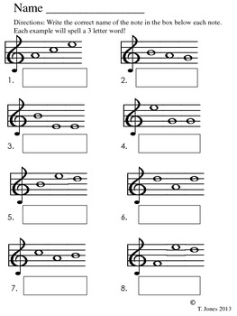 Fun and Learn Music » Music Worksheets – Treble Clef Middle C to ...
