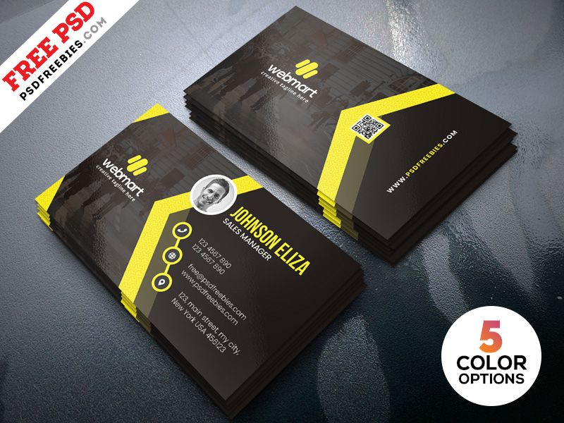 Modern Business Cards Design Templates Psd Free File Freebie