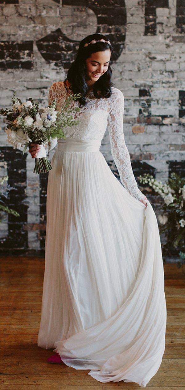 See Through Lace Long Sleeve Ivory Chiffon Beach Wedding Dresses
