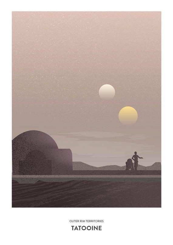 Tatooine Film Poster Illustration Star Wars Images Star Wars Pictures Film Posters Illustration