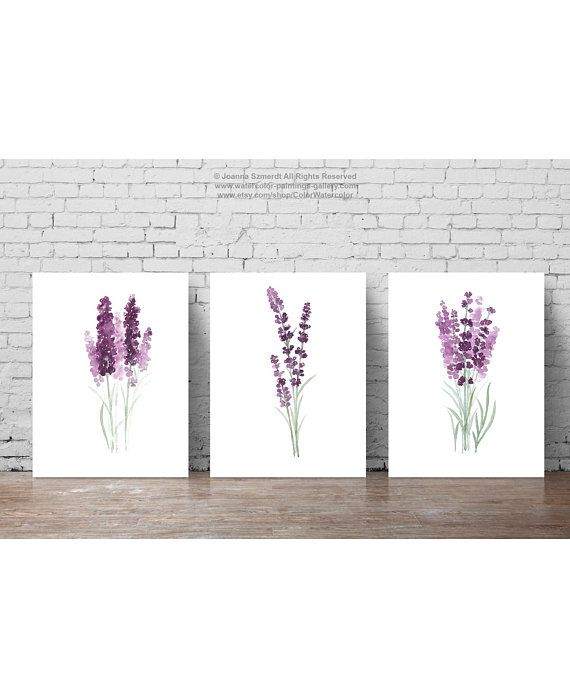 Items similar to Lavender set 3 Art Prints, Purple Green Botanical Floral Wall Decoration, Lavender Field Modern Poster Watercolour Painting Living Room Art on Etsy