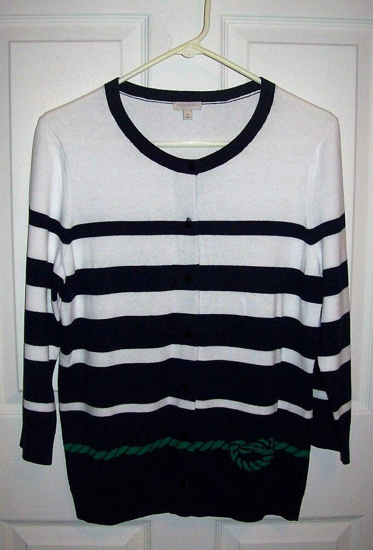 Vintage Ladies Navy & White Nautical Cardigan Sweater by Talbots ...