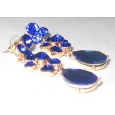 Maxi pendientes pedreria cristal azules