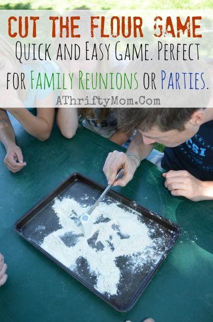 a9fd0689f7 Cut the flour game, Family Reunion Ideas, Party games, Games for a family  reunion #Games, #FamilyReunionIdea