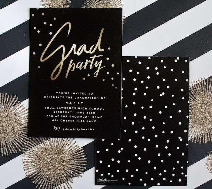 Party Invitation from a Black White Gold Graduation Party via – Black and White Themed Party Invitations