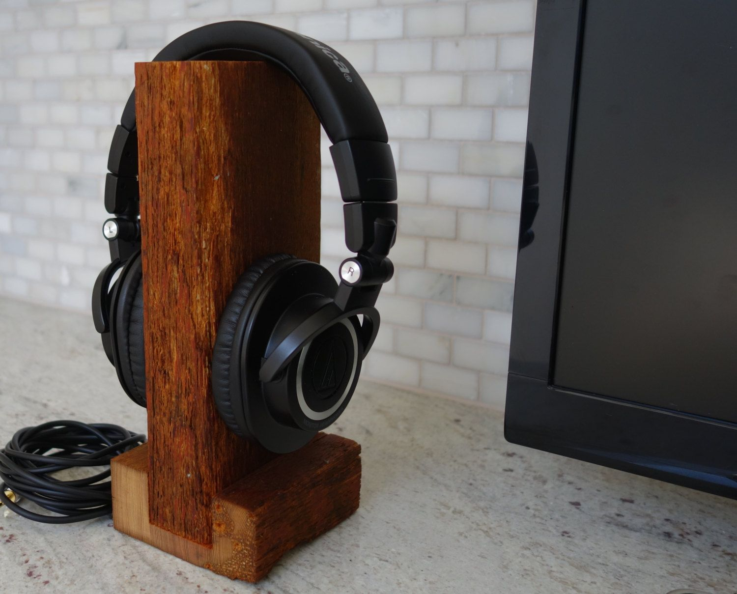 Handmade wood headphone stand the rustic unique tech audiophile gift headphone holder headset stand headset holder