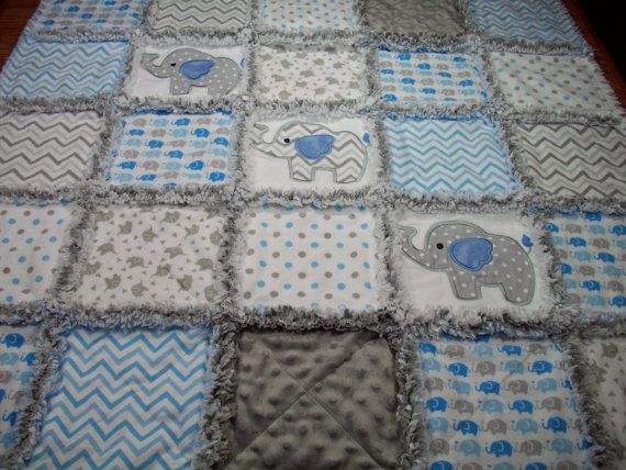 Elephant Baby Rag Quilts Rag Quilt Baby by LoveableQuiltsNMore ... : rag quilts for baby - Adamdwight.com