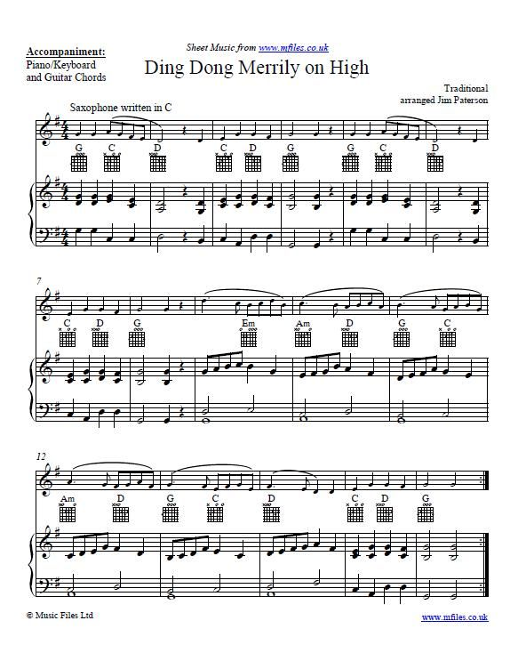Ding Dong Merrily on High (arranged for Alto Saxophone and Piano) - free download of score and ...
