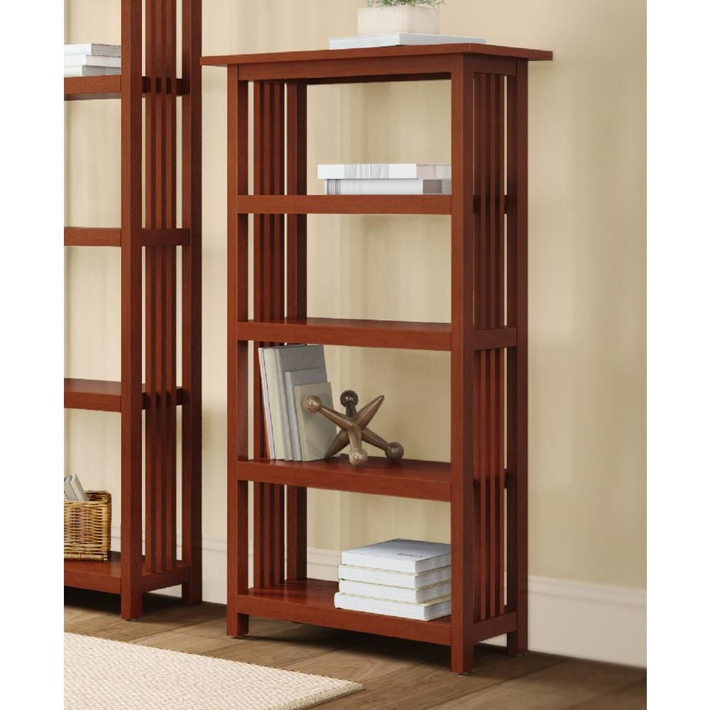 Alaterre Furniture 48 In Cherry Wood 4 Shelf Etagere Bookcase With Adjustable Shelves Amia0760 In 2020 Etagere Bookcase Open Bookcase Mission Style Furniture