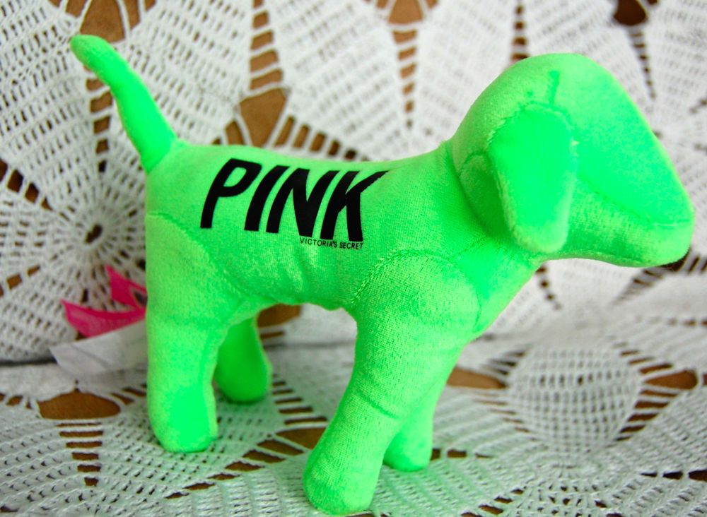 """NEON! Bright GREEN Lime LOVE PINK Stuffed 6"""" DOG Victoria"""