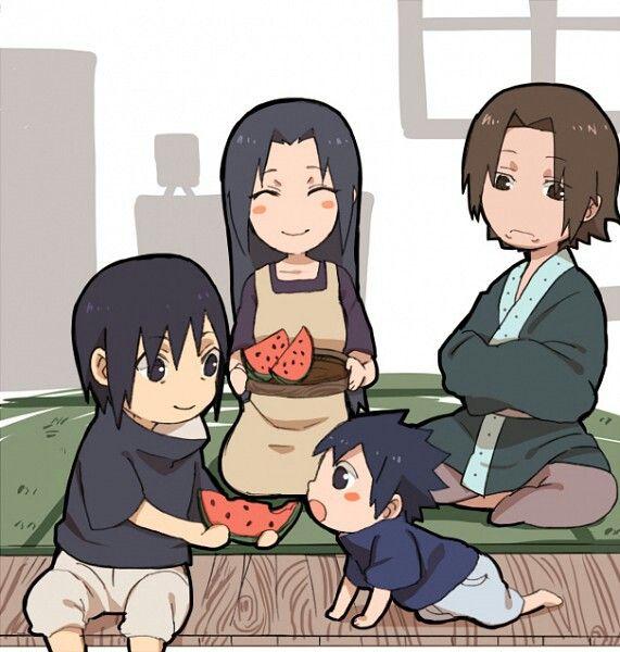 Mikoto, Fugaku, Itachi, Sasuke, Uchiha Family, Watermelon