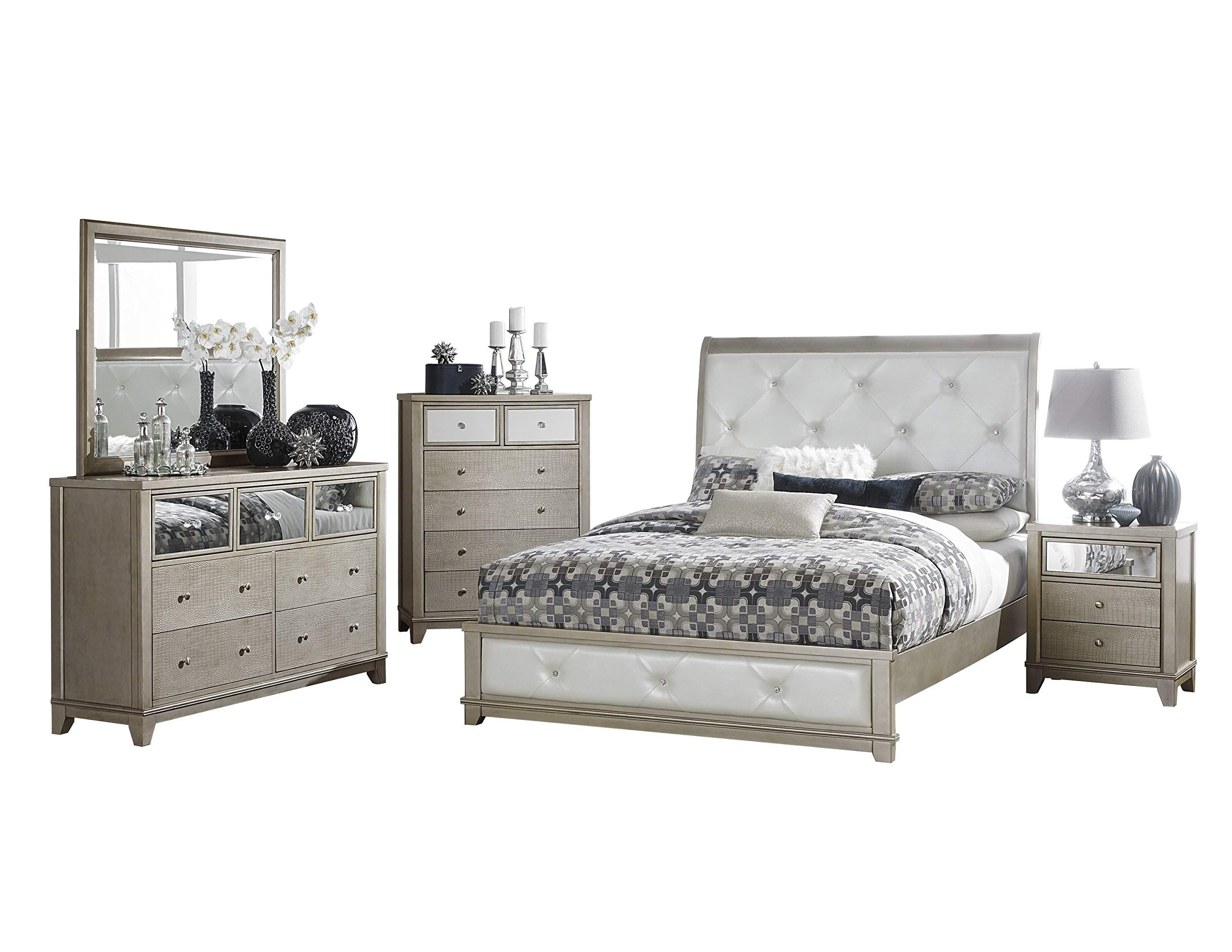 Best Owens Glitz And Glam 5Pc Bedroom Set E King Bed Dresser 400 x 300