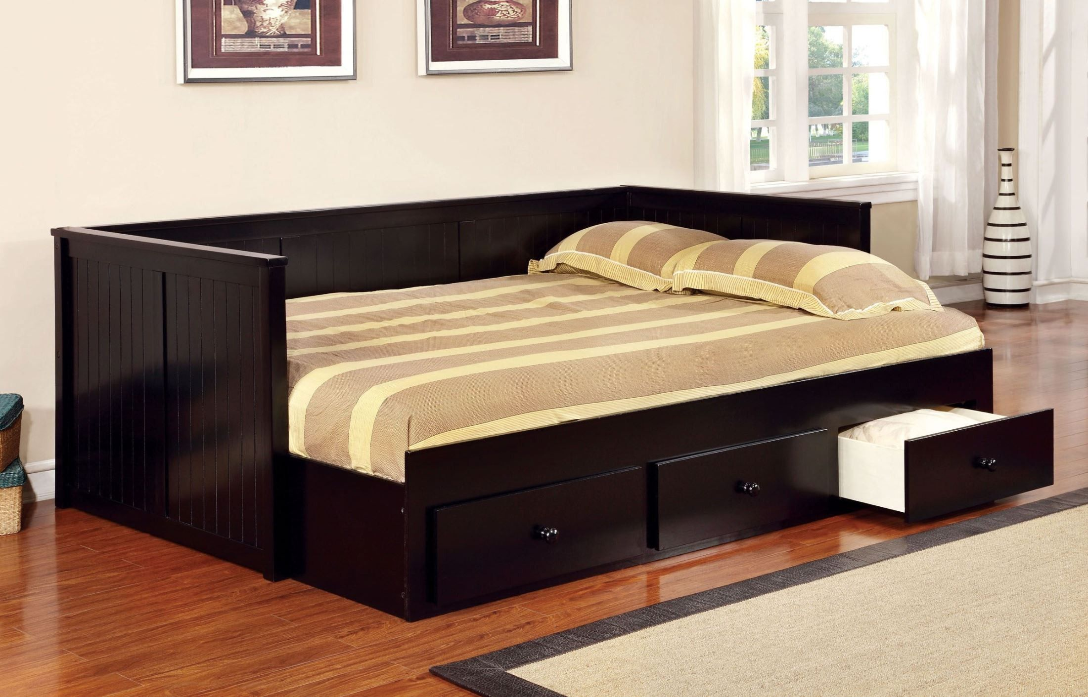 Wolford Black Full Daybed Daybed With Storage Daybed With Drawers Full Size Daybed Daybeds with mattress for sale