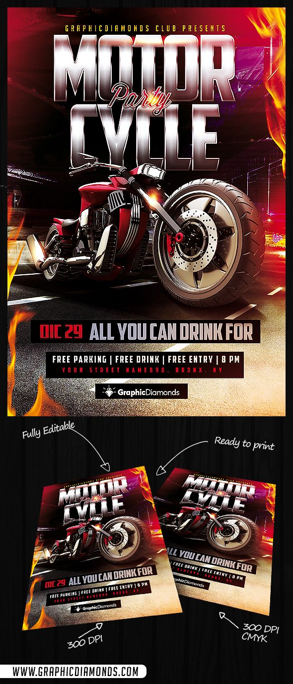 motorcycle flyer party by graphicdiamonds on creative market motorcycle bike bikeparty bikeflyer motorcycleflyer sportflyer sport