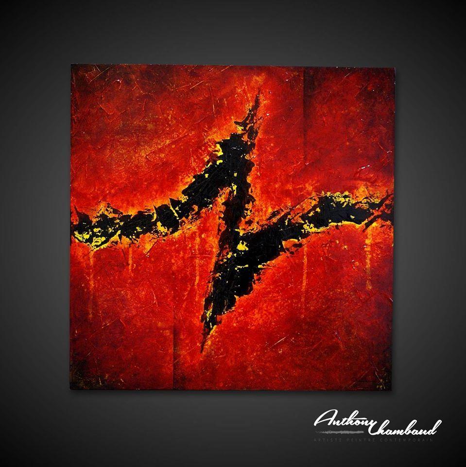 Tableau rouge de l 39 artiste anthony chambaud artiste for Tableau contemporain