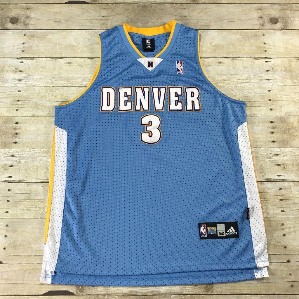 470e98fff9e Authentic Adidas Denver Nuggets #3 Allen Iverson Sewn NBA Jersey Mens Size  52 (XL)