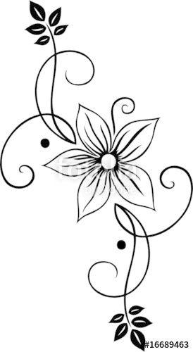 Laden Sie Den Lizenzfreien Vektor Blume Blute Ranke Filigran Floral Ornamental Von Christine Krahl Zum Gu Vektor Blumen Blumenzeichnung Blumen Zeichnung