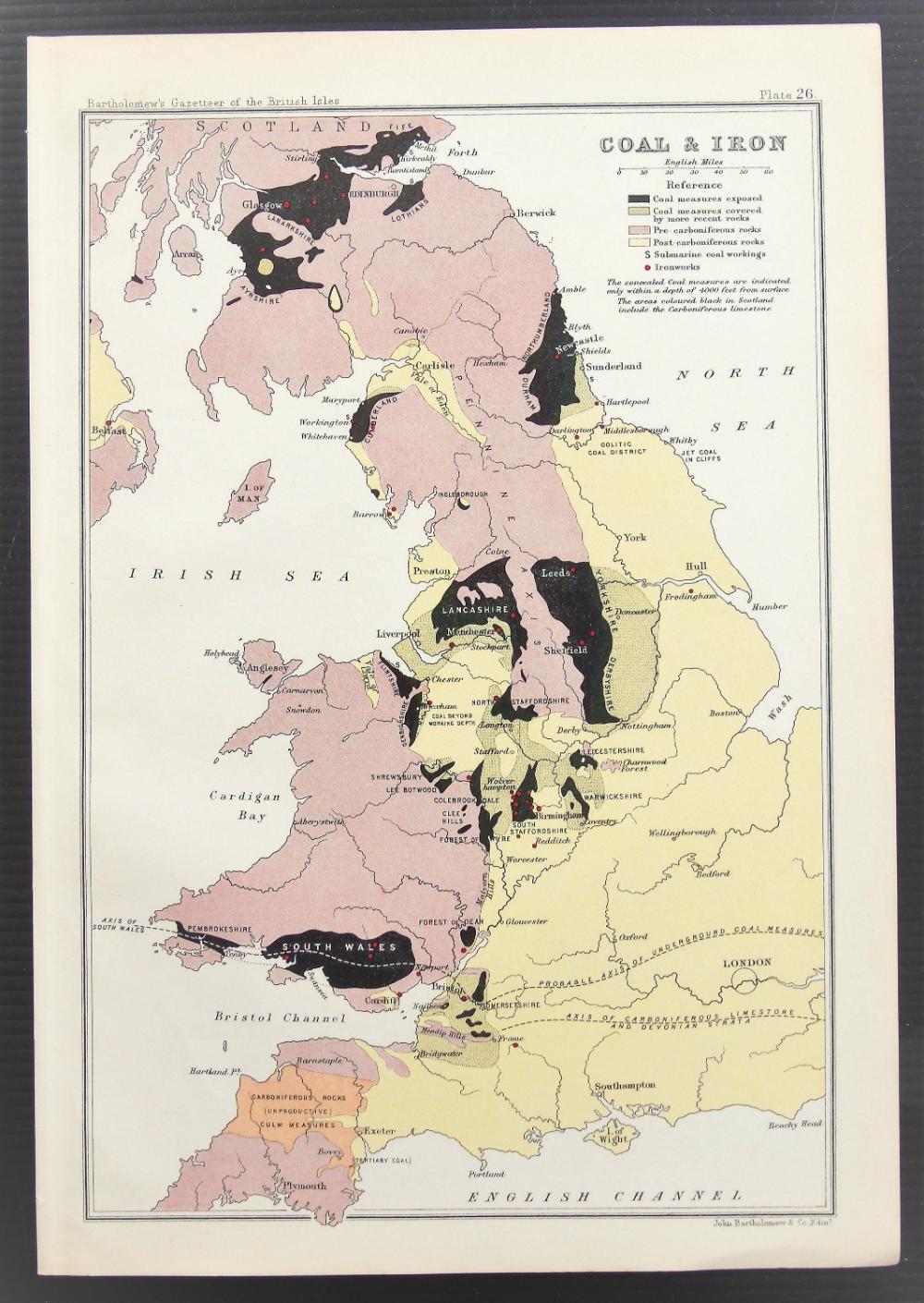 1904 British Isles Map of Coal & Iron Distribution, Antique Colour Map by Bartholomew, Pastel Colours #britishisles