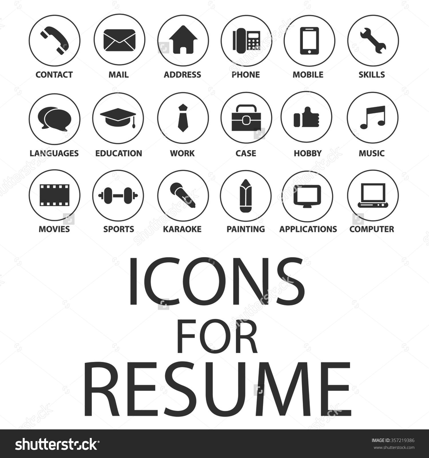 Free Resume Icons Stock Vector Icons Set For Your Resume Cv Job 357219386