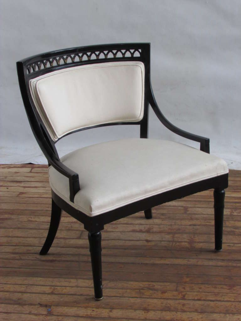 1940 Chair Styles | 1940u0027s Neoclassical Regency Klismos Style Black  Lacquered Armchair At .