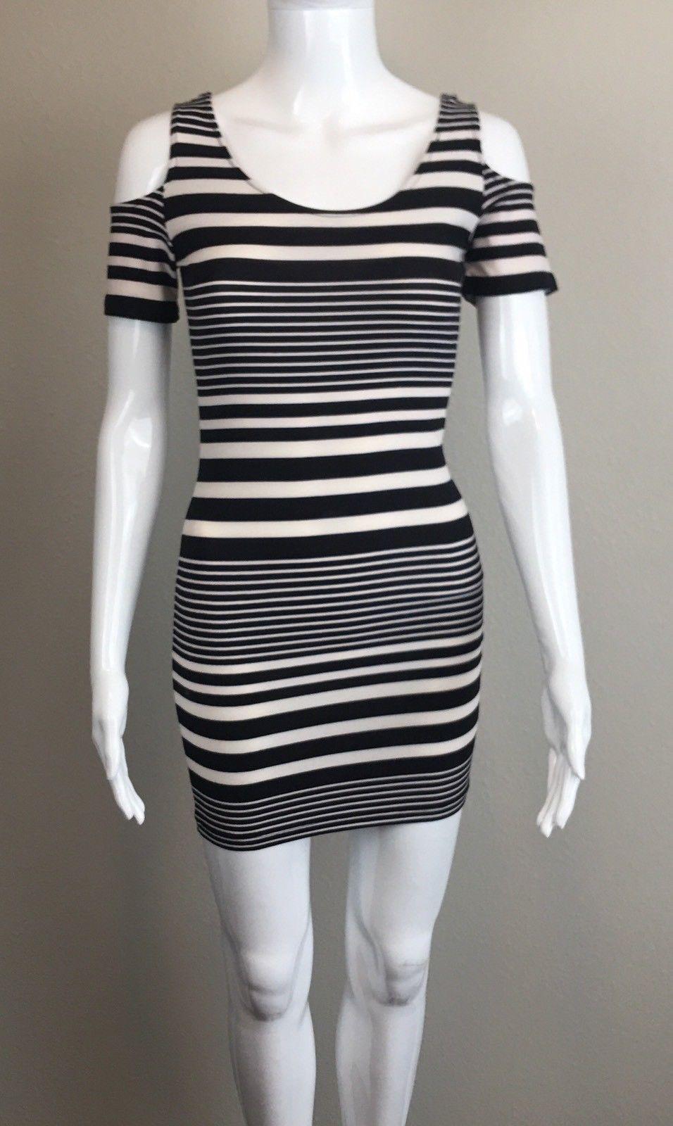 Cool amazing planet gold macyus striped coldshoulder bodycon dress
