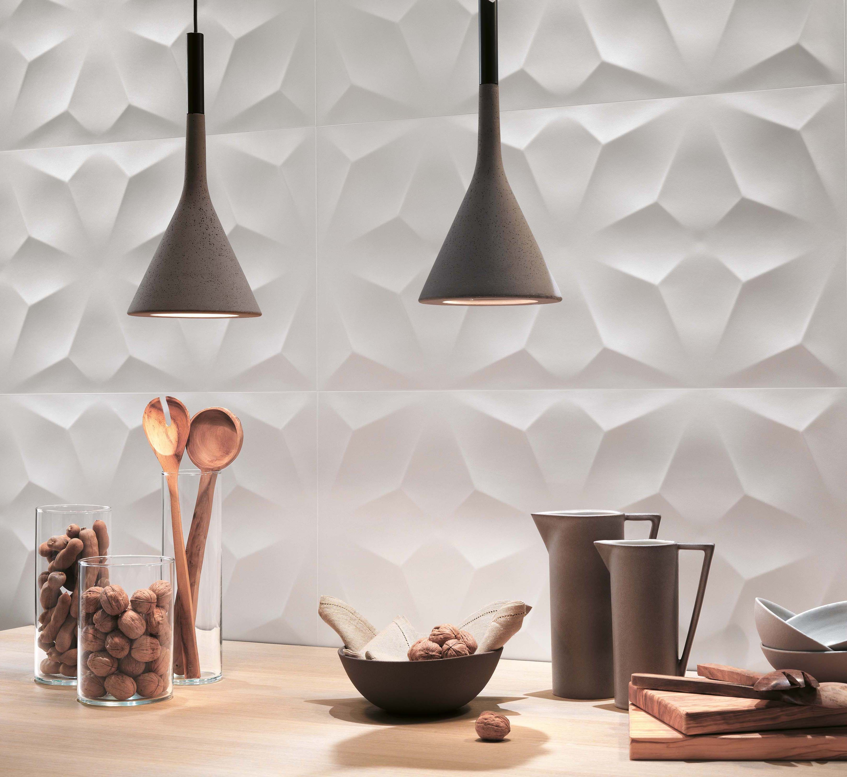 The decorative three dimensional wall tiles resistant to for Dimensional tile backsplash