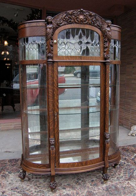 Quartersawn Oak Winged Angel Curved Glass China Cabinet - Quartersawn Oak Winged Angel Curved Glass China Cabinet Antiques