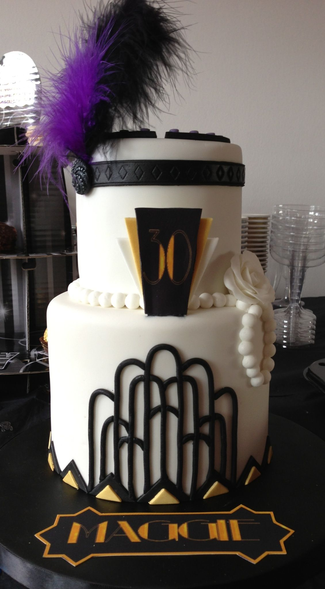 Birthday cake gatsby style cake pinterest gatsby for Art deco cake decoration