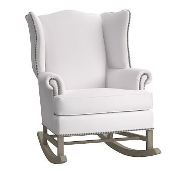 Terrific Thatcher Rocker Pewter Nailheads Organic Twill White Andrewgaddart Wooden Chair Designs For Living Room Andrewgaddartcom