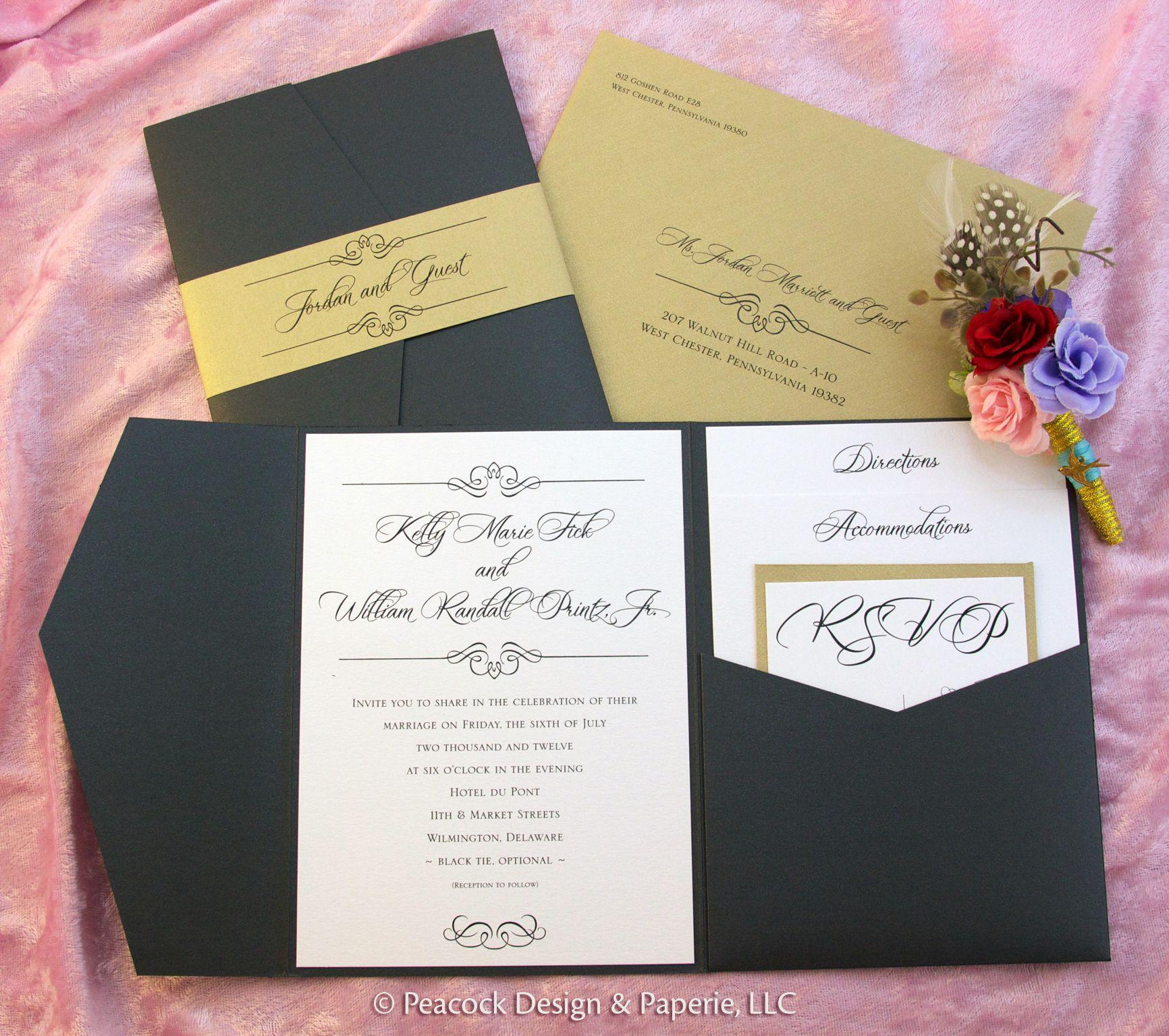 Wedding Invitation Pocket Enclosure, black and gold, suite, custom ...