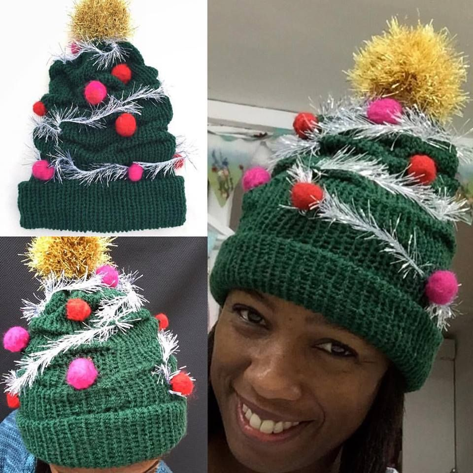 My Xmas Tree Hat Made On The Addi Kingsize It Uses Tuck Stitches To Create The Cr Circular Knitting Machine Addi Knitting Machine Knitting Machine Patterns