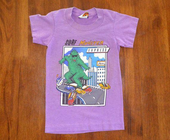 db9b813c1 vintage 80s tee shirt HOBIE surf monster purple t-shirt youth Small Medium  kids 5 6 surfing