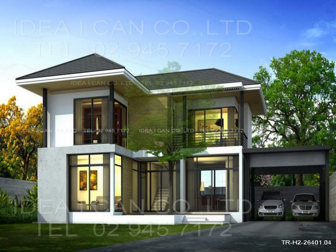 modern story house plans contemporary design small one ...