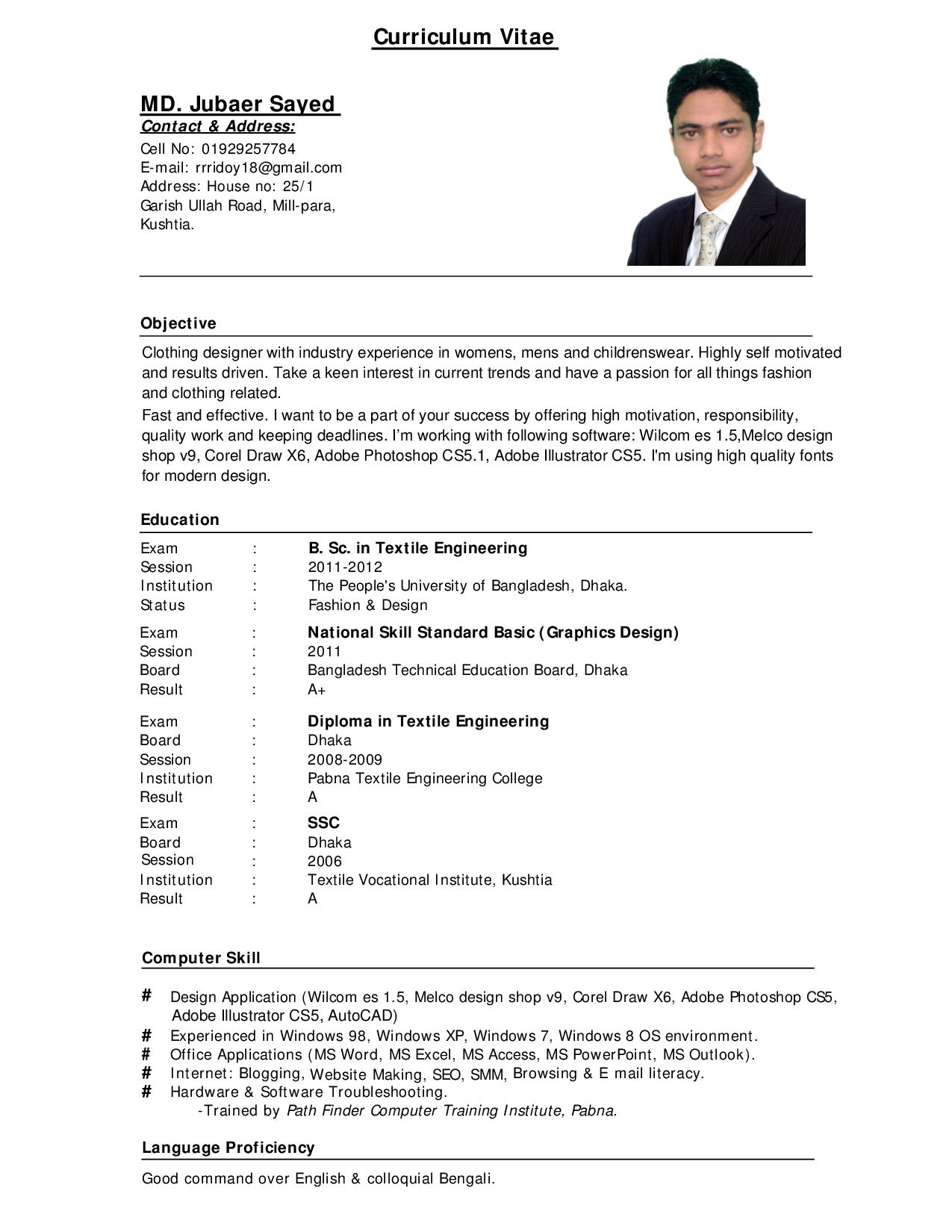 Example Resume, Computer Skills And Education For Curriculum Vitae ...