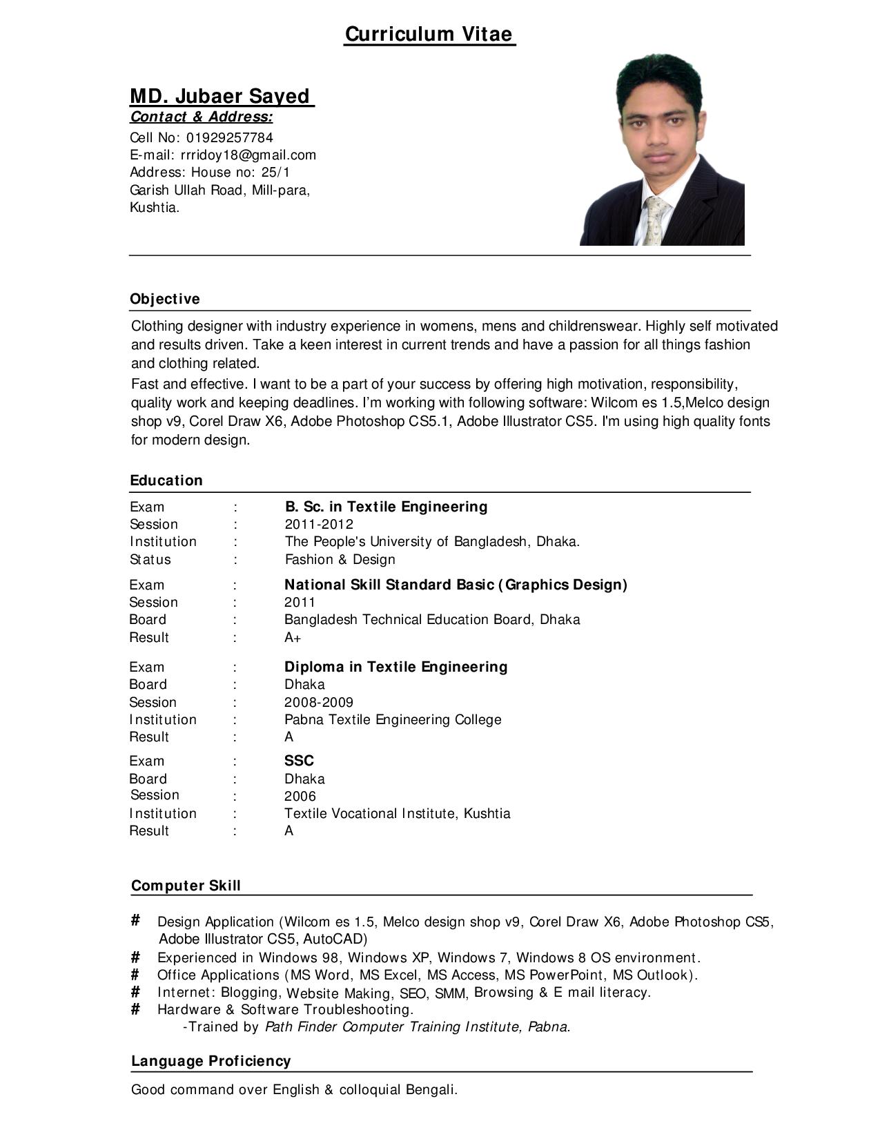 Curriculum Vitae Resume Samples