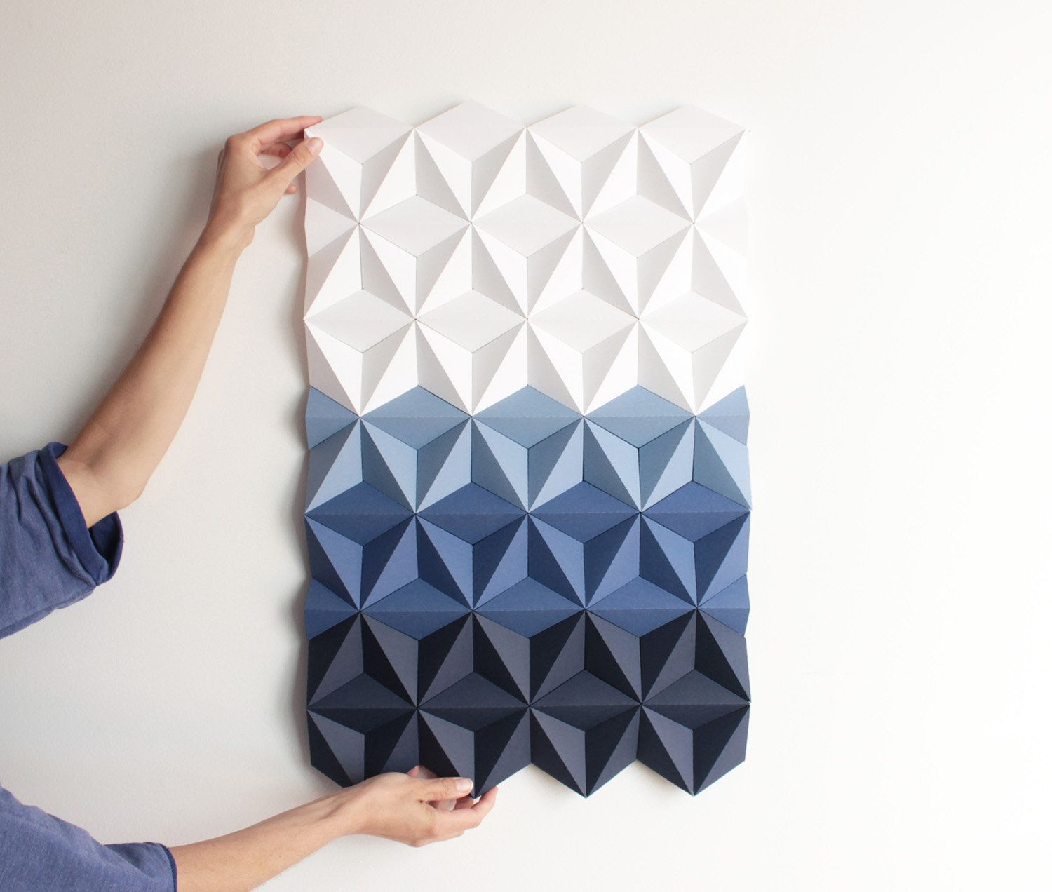 Blue Geometric Wall Art Blue And White Paper Wall Art 3d Geometric Wall Decor Tile Wall Art Living Room Art Paper Decor Moduuli Blue Tile Wall Art Paper Wall