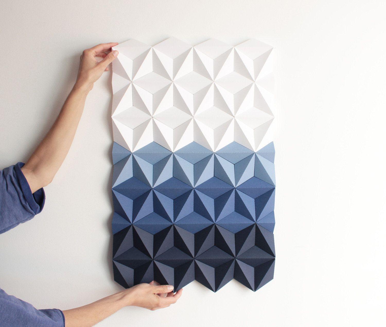 Blue Mosaic Wall Art Blue And White Paper Wall Art 3d Geometric Wall Decor Tile Wall Art Living Room Art Paper Wall Art Tile Wall Art Geometric Wall Decor