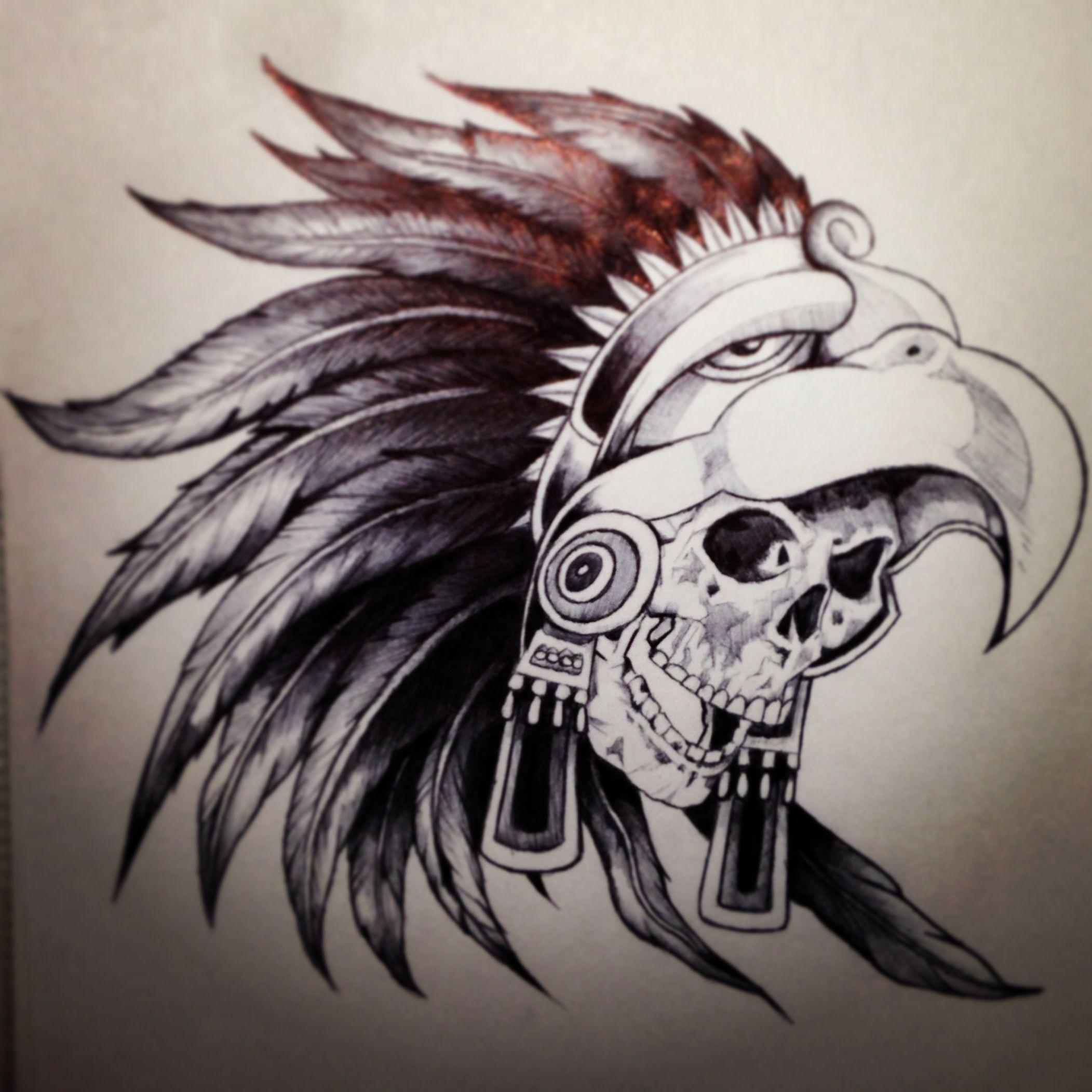 Warrior Skull Cráneos Pinterest Tatuajes Aztecas Y Cráneo Indio