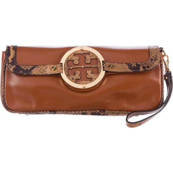 Pre Owned Tory Burch Embossed Leather Trimmed Clutch 500 Pln Liked