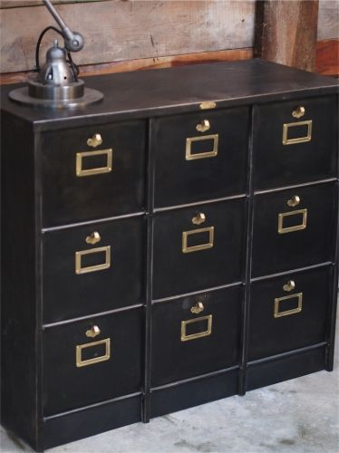 meuble console Morgan 9 grand casiers industriel clapet plateau