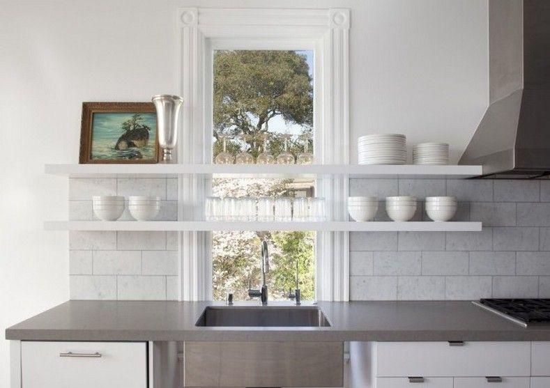 Shelves In Front Of Windows Kitchens Google Search Farmhouse Kitchen Design Kitchen Refurbishment Modern Farmhouse Kitchens