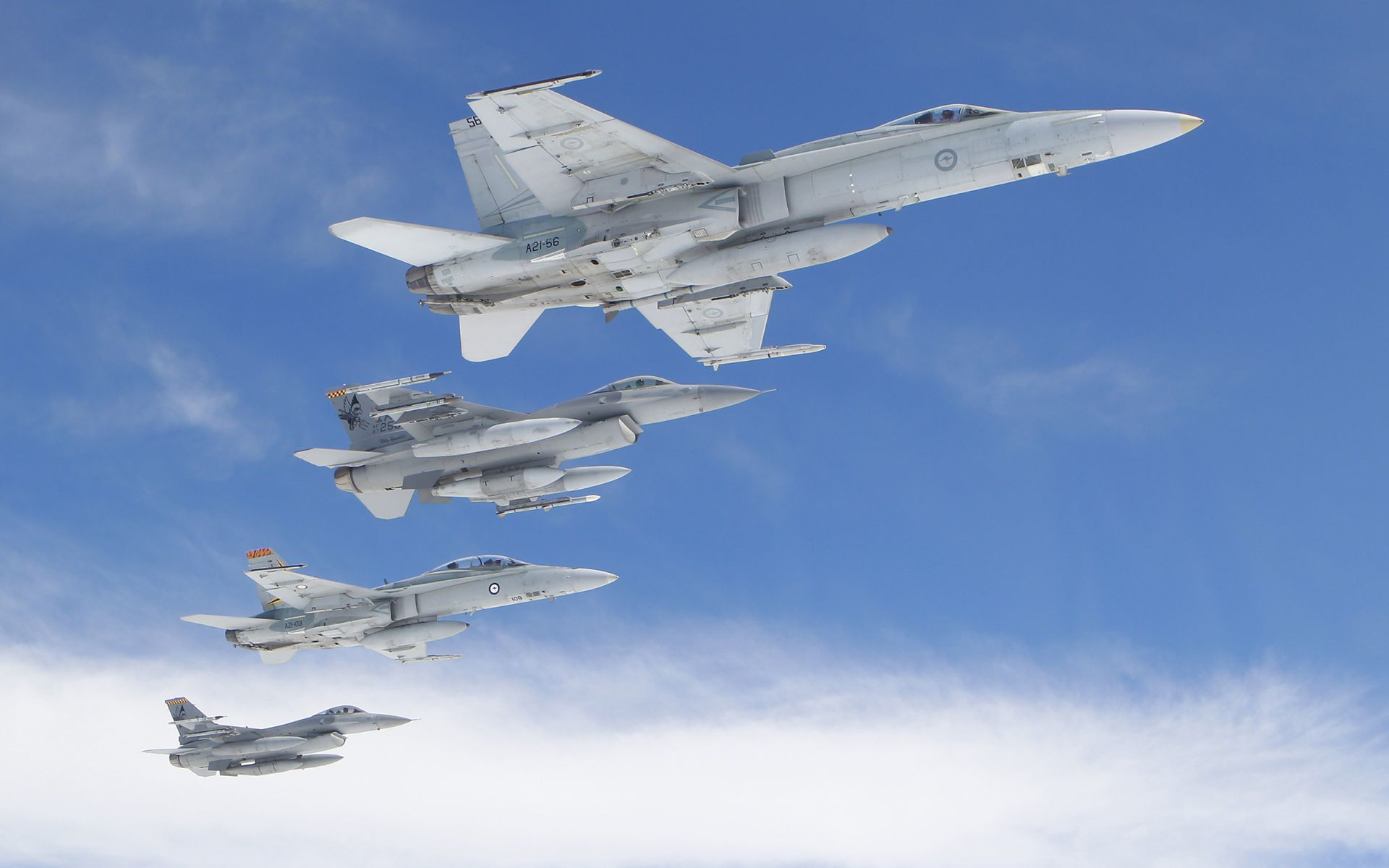 F-16 Falcons and F/A-18 Hornets